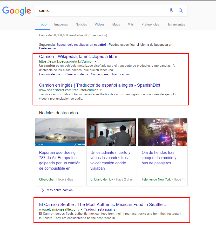 sin tilde en google.com