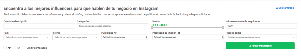 Filtros influencers instagram Publisuites