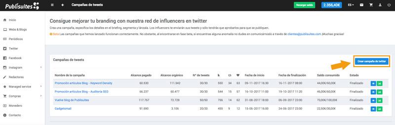 Crear campaña Twitter Publisuites
