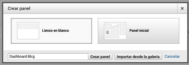 Crear nuevo panel Analytics