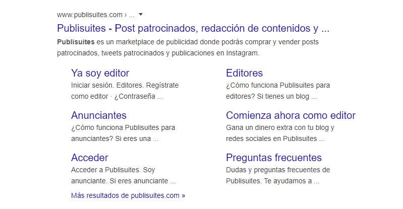 ejemplo sitelinks