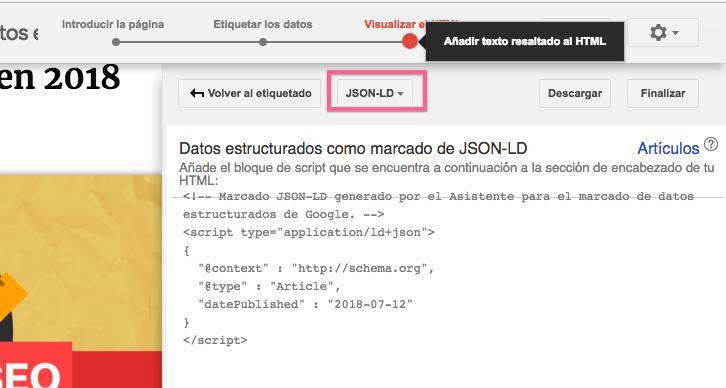 Datos estructurados JSON