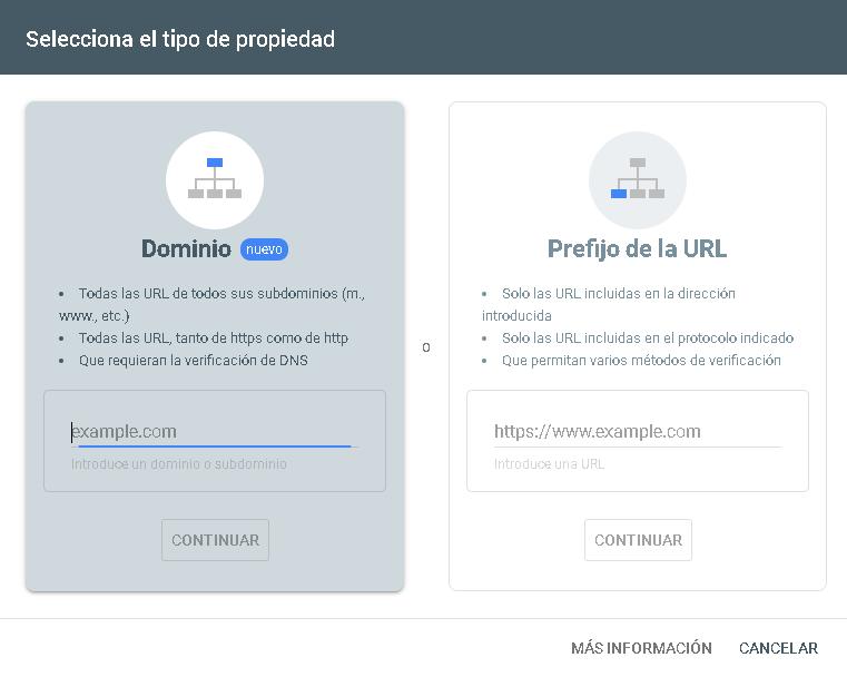 search console guía dominio