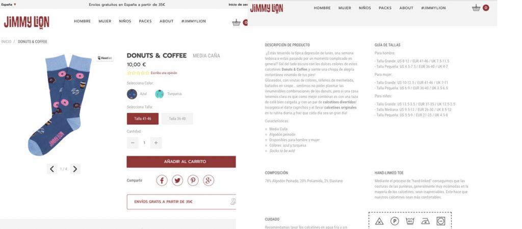 descripción de producto Jimmy Lion