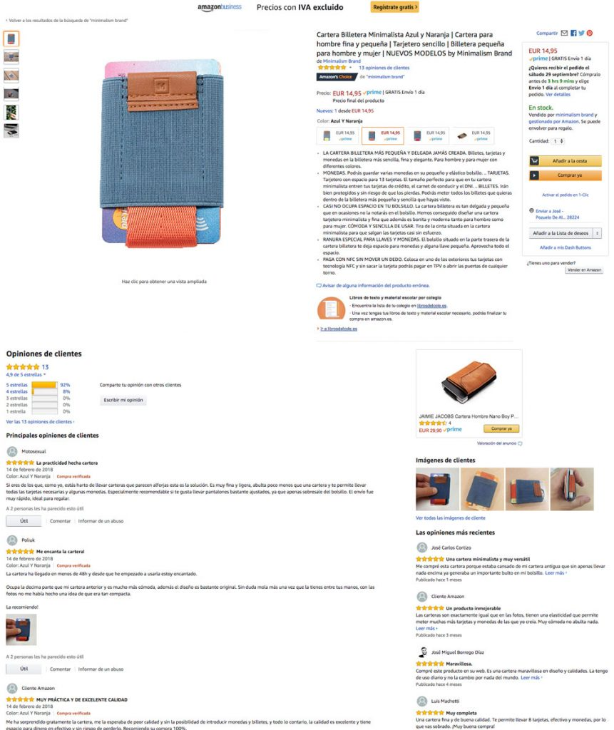 ejemplo reviews minimalism brand en amazon