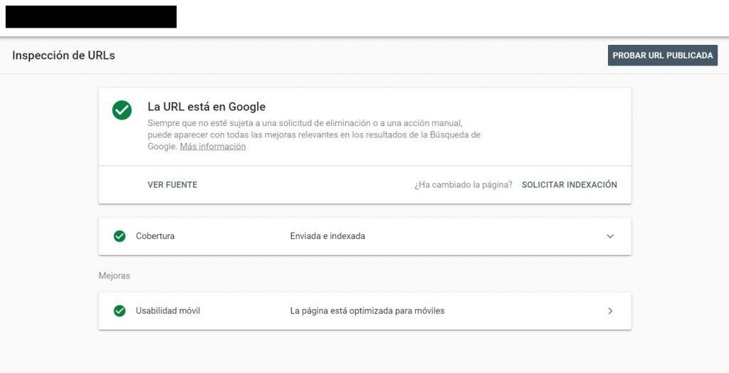 inspeccionar url nuevo search console