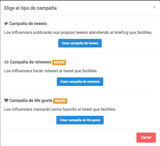 Crear nueva campaña de Twitter en Publisuites