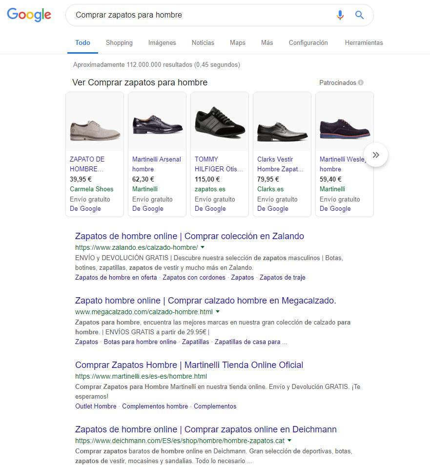 intención de búsqueda zapatos hombre
