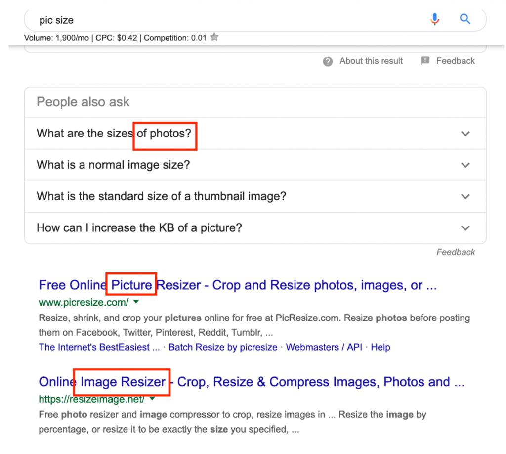 keyword lsi resultados de búsqueda