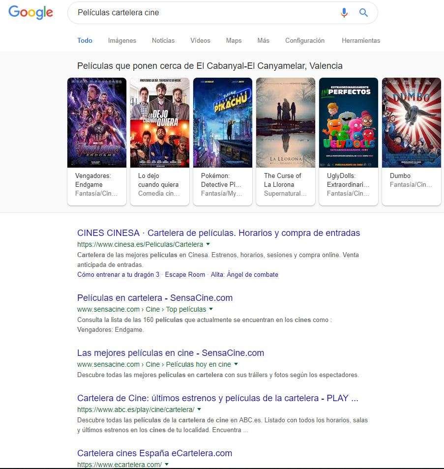 películas cartelera intención de búsqueda