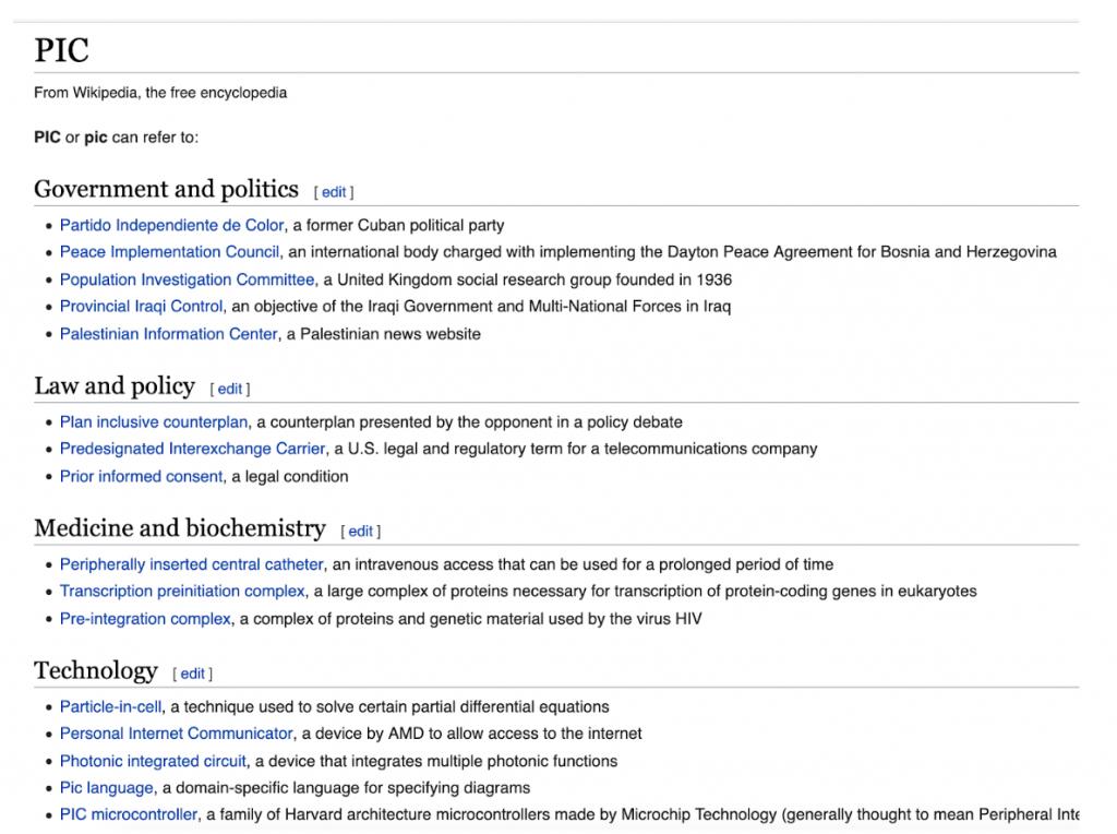 significado palabra pic en wikipedia