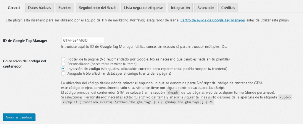 instalar en wordpress tag manager