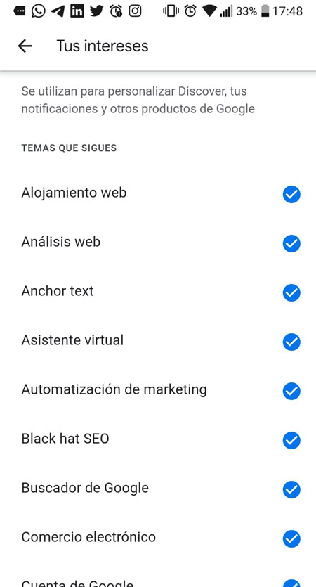 Intereses google discover