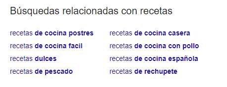 búsqueda relacionada recetas