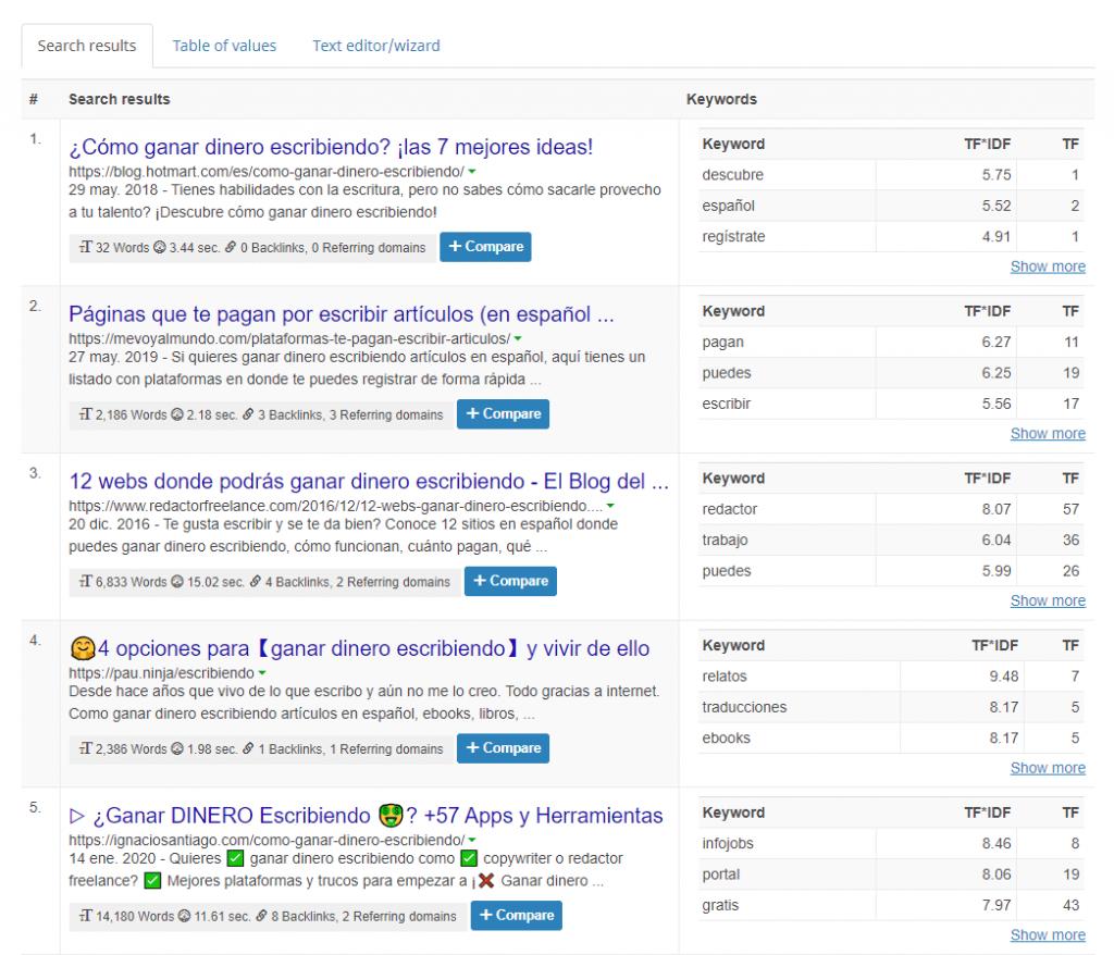 resultados búsqueda seobility