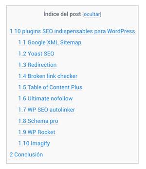 tabla de contenidos blog